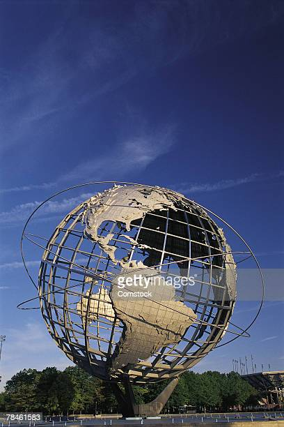 metal globe sculpture from queens in new york city - flushing queens stock pictures, royalty-free photos & images