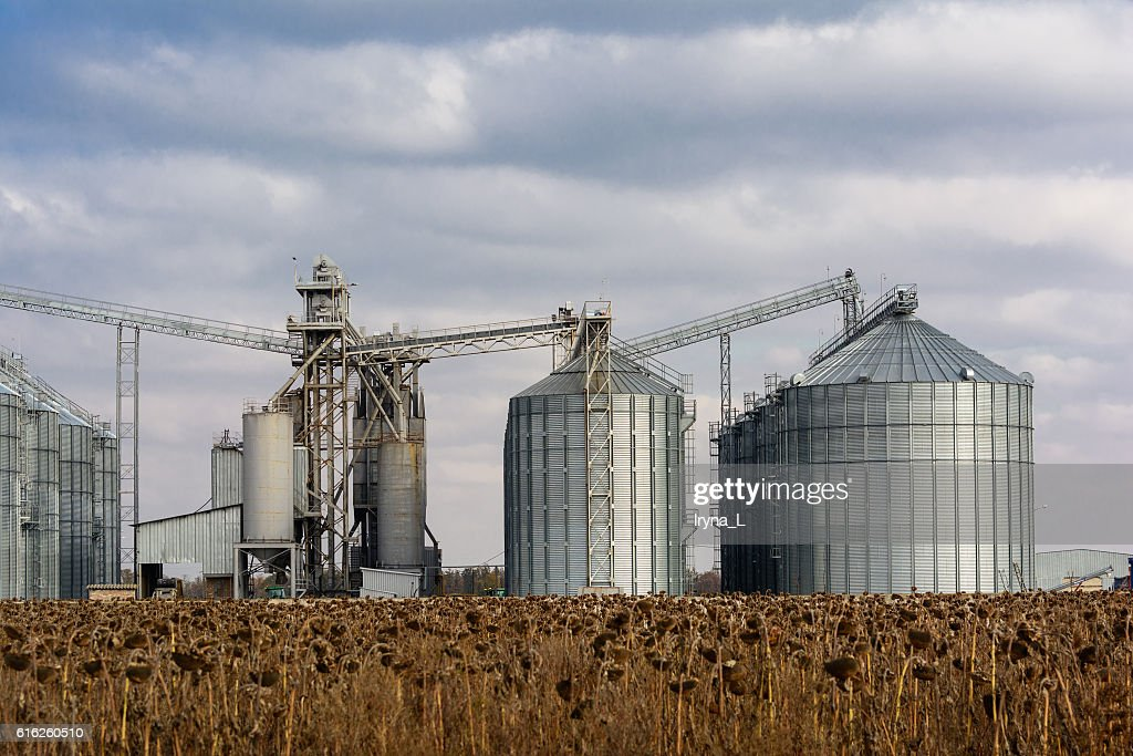 Metal grain elevator in agricultural zone. : Foto de stock