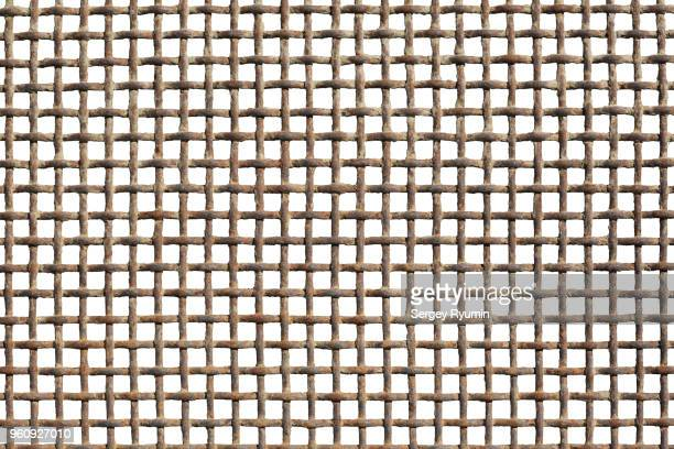 Metal grid on a white background.