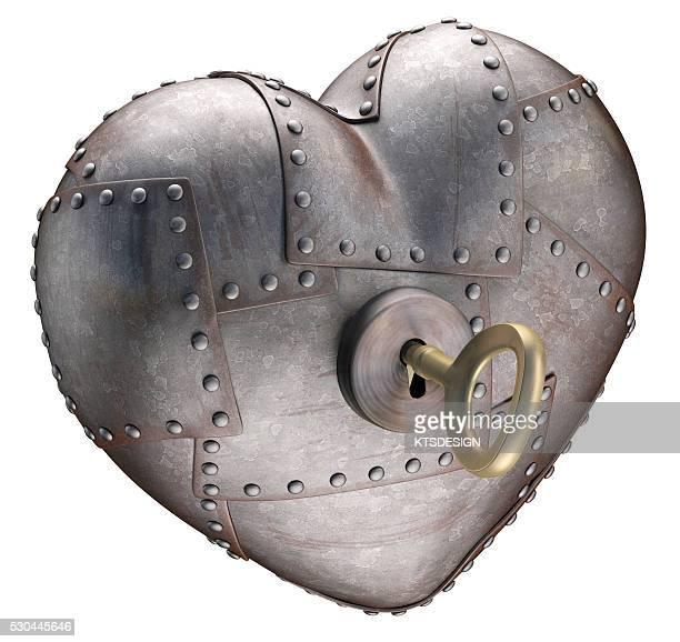 metal heart with key, illustration - rebite ferramenta de trabalho imagens e fotografias de stock