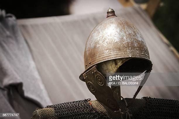 Metal helmet worn by Gallic warrior Celtic civilisation 4th3rd century BC Historical reenactment