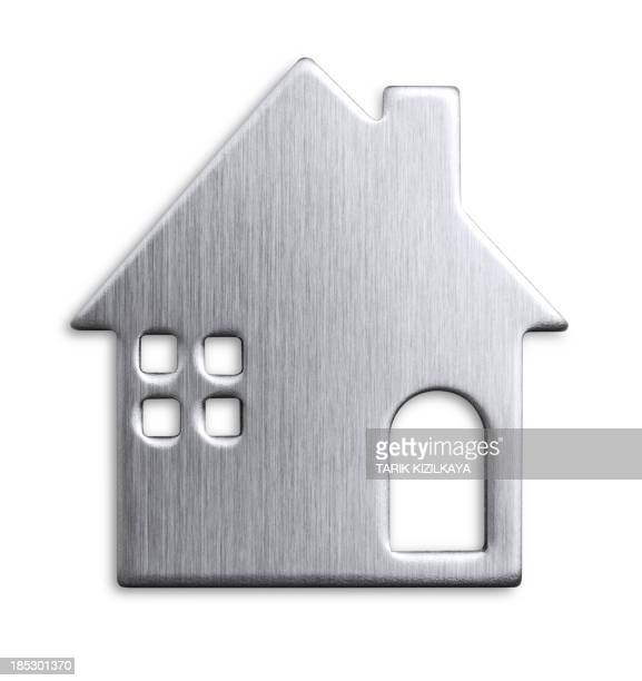 metal house shape - house icon stock pictures, royalty-free photos & images