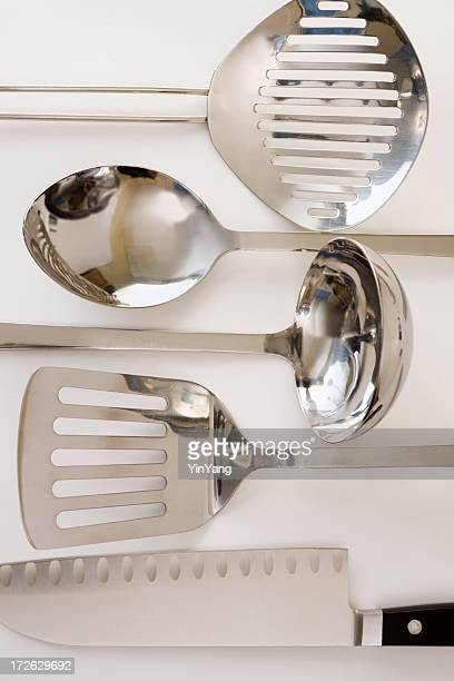Metal Kitchen Cooking Utensils, Chef Tools—Ladle, Spoon, Spatula Equipment