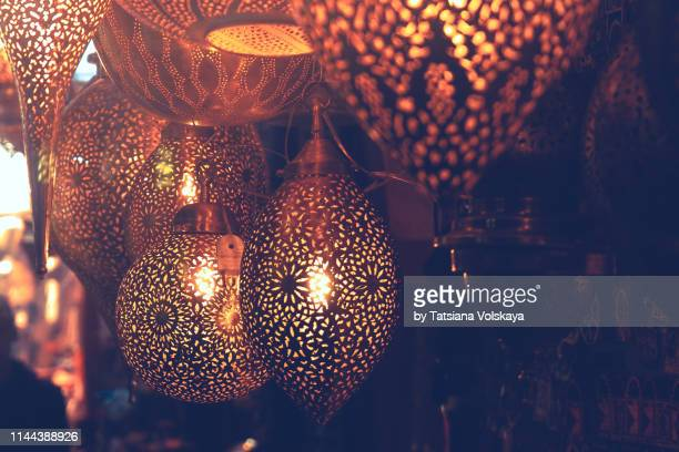 metal lamps in souk, marrakech, morocco - souk stock pictures, royalty-free photos & images
