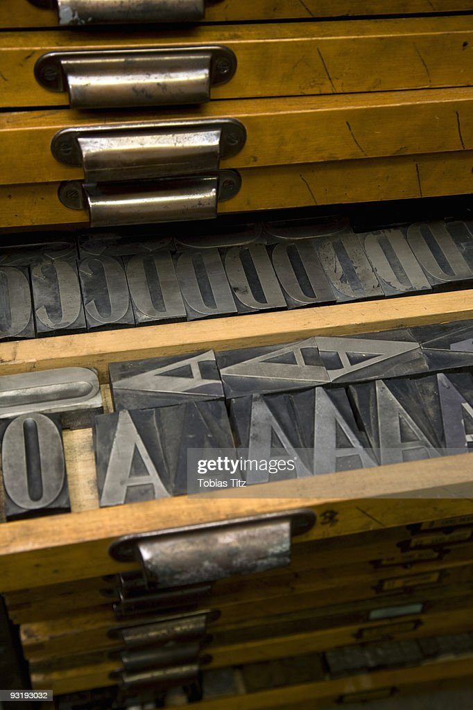 Metal Letterpress Letters In A Drawer Stock Photo - Getty Images