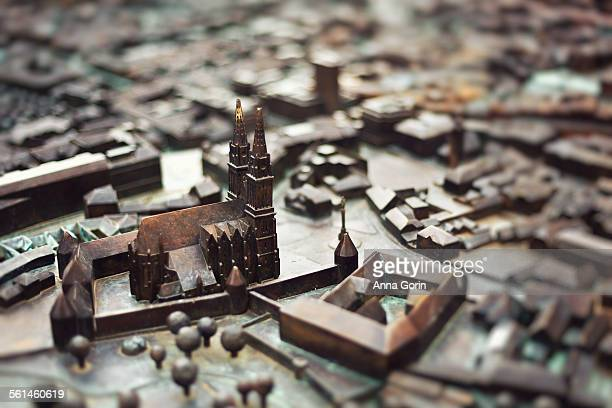 3D metal map of Zagreb cathedral square, Croatia