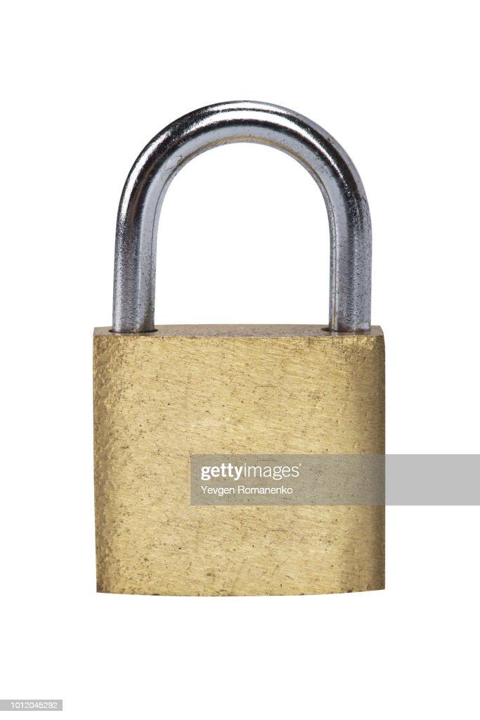 Metal padlock on white background : Stock Photo