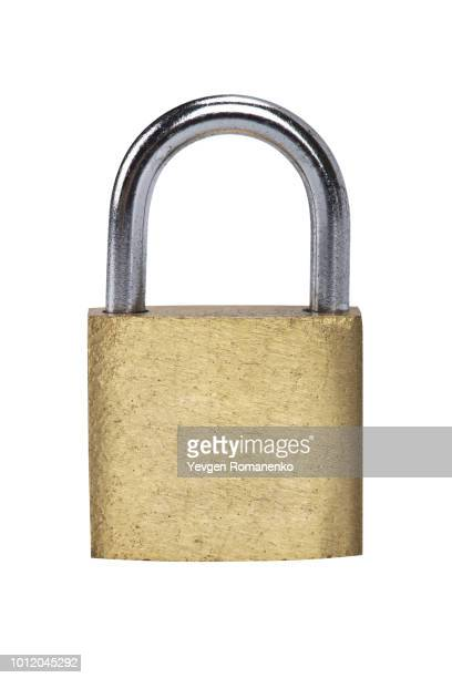 metal padlock on white background - locking stock pictures, royalty-free photos & images