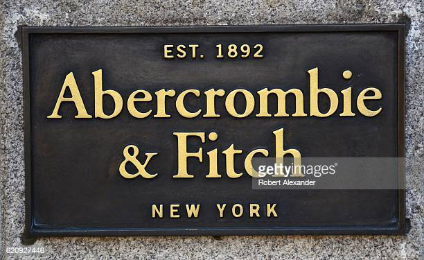 A metal plaque is attached to the stone facade of an Abercrombie Fitch store in Dublin Ireland Founded in New York City in 1892 the American retailer...