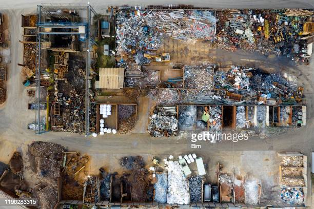 metal recycling yard from above - waste management stock pictures, royalty-free photos & images