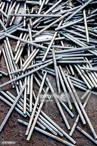 metal rods at recycling plant