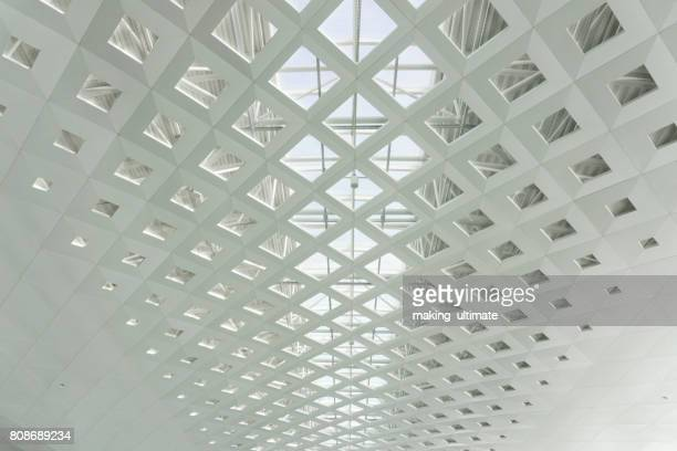 metal roof structure of office building ceiling - ceiling stock pictures, royalty-free photos & images