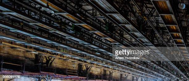 Metal scaffolding in a large warehouse