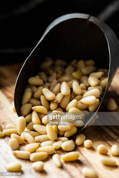 metal scoop of raw pine nuts - brycia james stock pictures, royalty-free photos & images