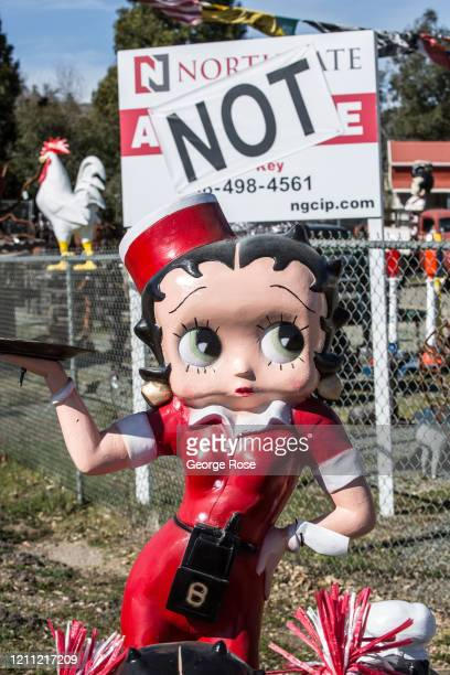 Metal sculpture of Betty Boop is displayed at a art gallery on March 2 in Jackson, California. After a series of heavy snowstorms in December, the...