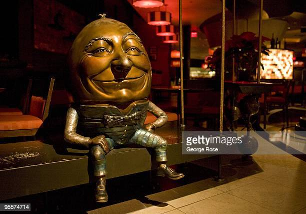 A metal sculpture of Humpty Dumpty sitting on a bench at David Burke Restaurant in the Venetian Hotel and Casino is seen in this 2009 Las Vegas...