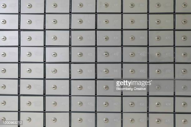 metal security lockers - safety deposit box stock pictures, royalty-free photos & images