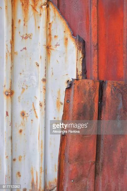 metal sheets fence patching - alexandra pavlova stock pictures, royalty-free photos & images