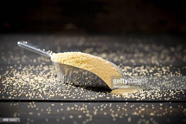 Metal shovel of millet on dark wood