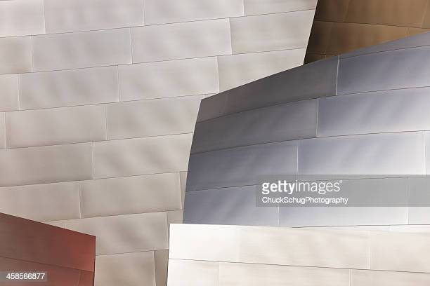 metal siding wall panel abstract - walt disney concert hall stock pictures, royalty-free photos & images