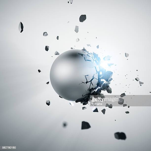 metal sphere explosion - destruction stock pictures, royalty-free photos & images