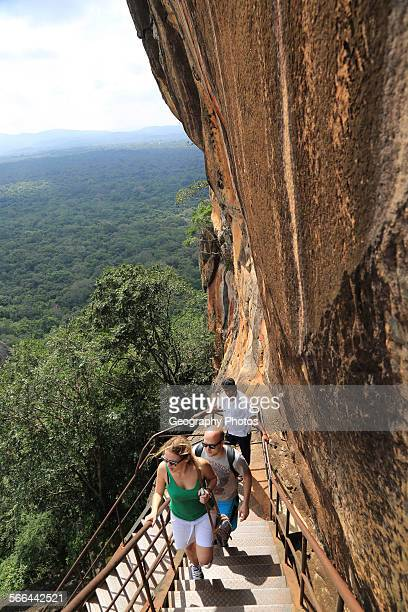 Metal staircase ascending from rock palace fortress Sigiriya Central Province Sri Lanka Asia