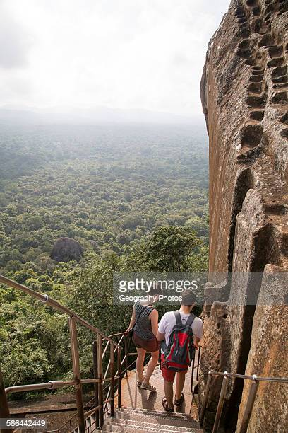 Metal staircase descending from rock palace fortress Sigiriya Central Province Sri Lanka Asia