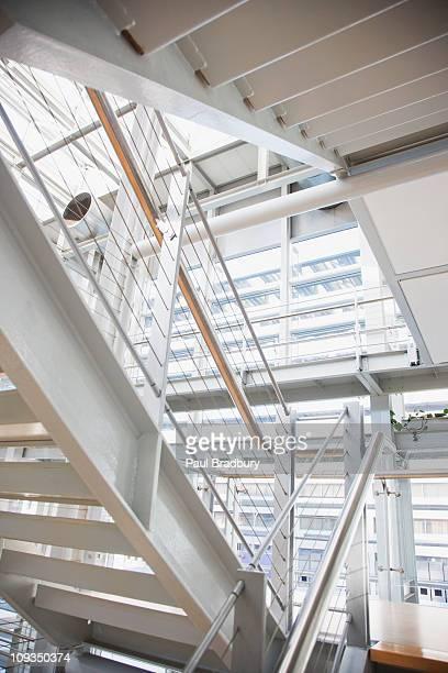 Metal stairway in modern office building