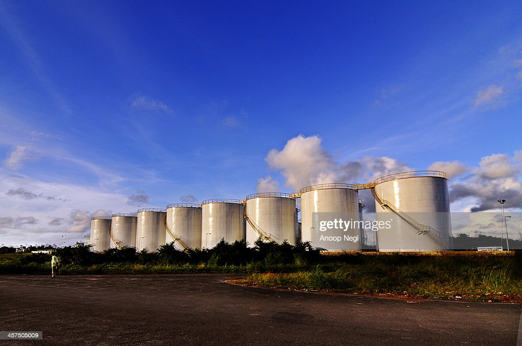 Metal storage drums in Cochin : Stock Photo