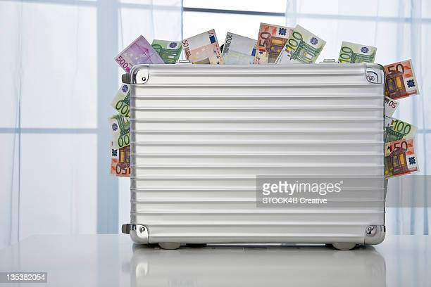 Metal suitcase full of Euro notes