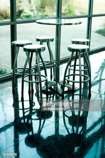 Metal table & stools w-reflection
