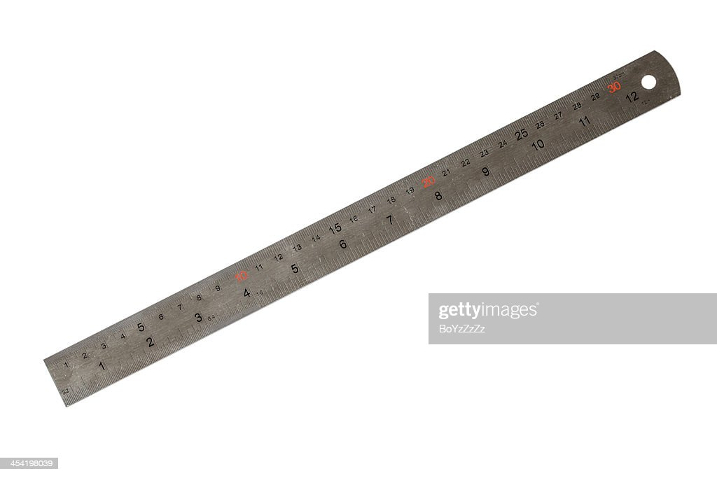 Metal thirty centimeters ruler : Stock Photo