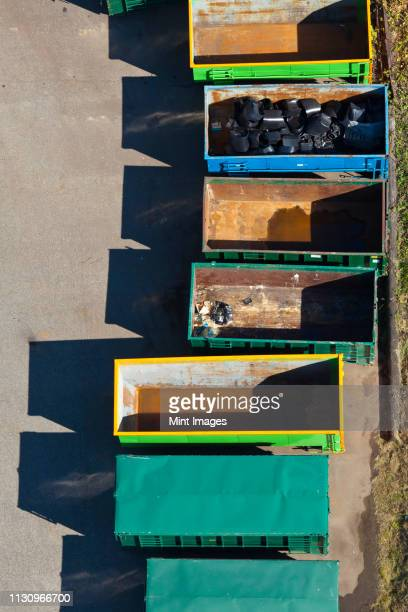 metal trash containers - industrial storage bins stock pictures, royalty-free photos & images