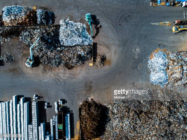 metal waste in recycling site - sustainable development goals stock pictures, royalty-free photos & images