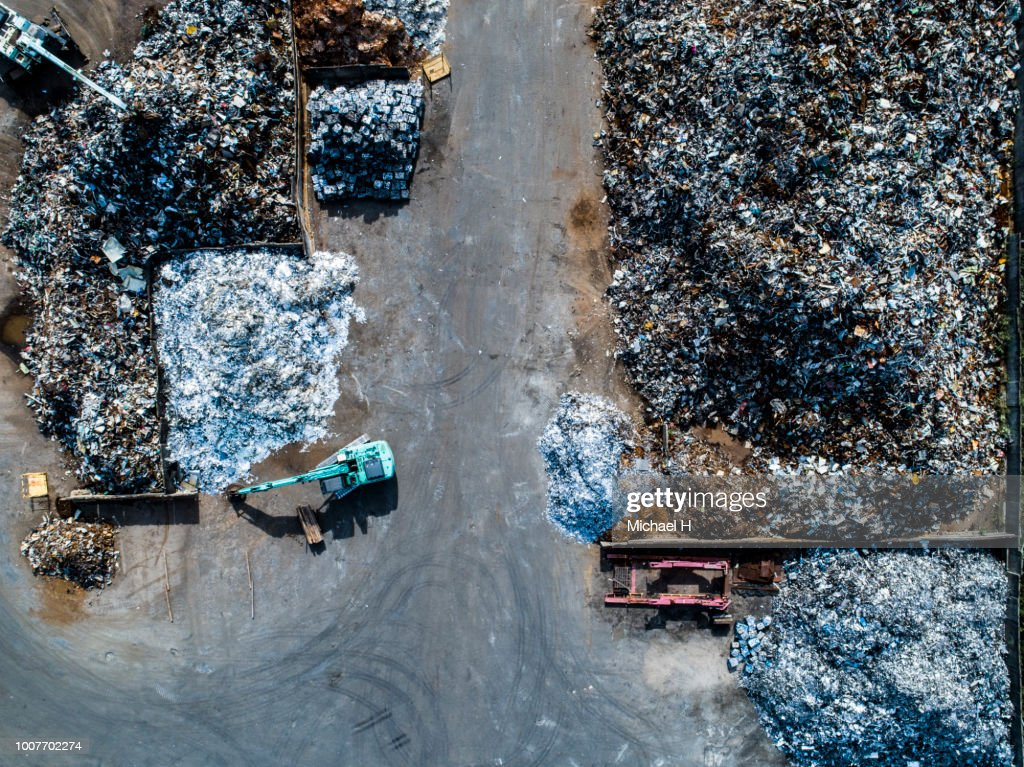 Metal waste in recycling site : Stock Photo