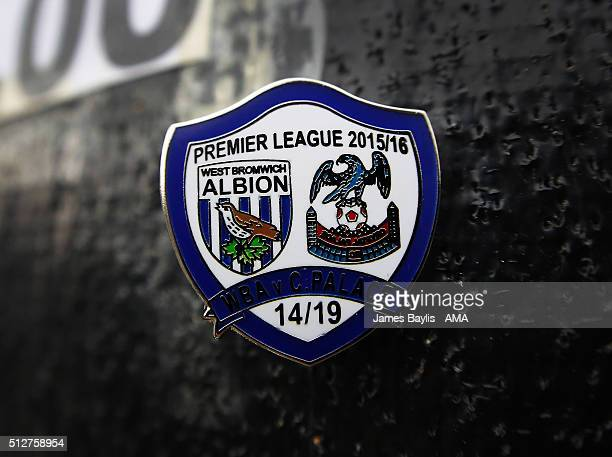 A metal West Bromwich Albion pin badge for today's Barclays Premier League match between West Bromwich Albion and Crystal Palace at the Hawthorns on...