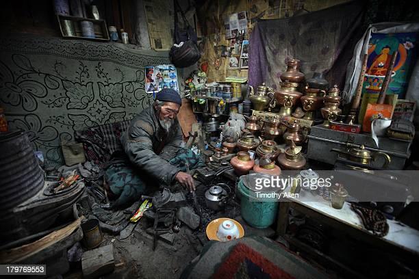 Metal worker in his workshop, Zanskar