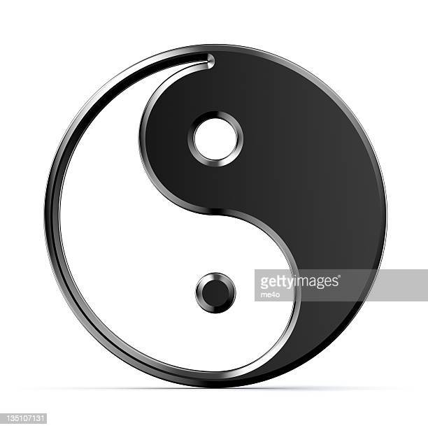 metal yin yang symbol on white background