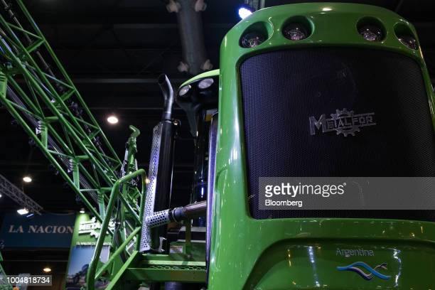 A Metalfor SA field sprayer sits on display at the exhibition pavilion during La Exposicion Rural agricultural and livestock show in the Palermo...