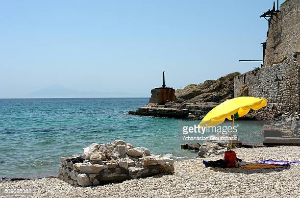 Metalia Beach on August 17 2008 in Thassos Greece Metalia Beach an enchanting and picturesque stretch of sand and pebbles in a fabulously beautiful...