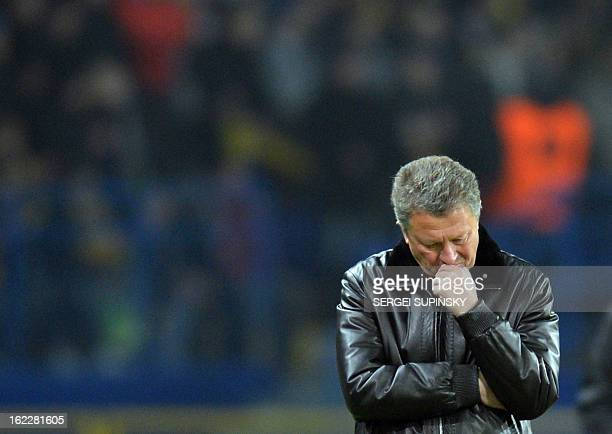 Metalist Kharkiv coach Myron Markevich reacts during UEFA Europa League, Round of 32, football match against Newcastle United FC in Kharkiv on...
