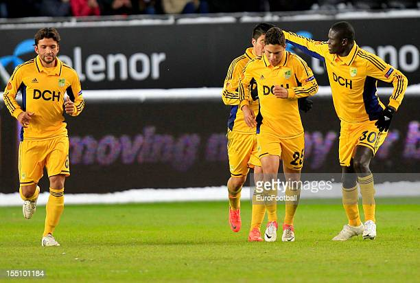 Metalist Kharkiv players celebrate a goal during the UEFA Europa League group stage match between Rosenborg BK and FC Metalist Kharkiv held on...