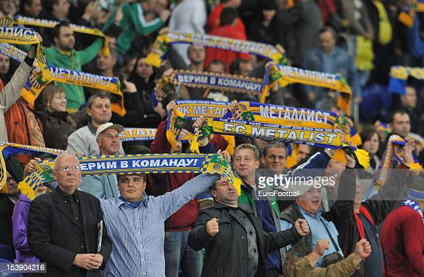 Metalist Kharkiv supporters during the UEFA Europa League group stage match between FC Metalist Kharkiv and SK Rapid Wien held on October 4, 2012 at...