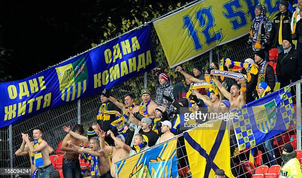 Metalist Kharkiv supporters during the UEFA Europa League group stage match between Rosenborg BK and FC Metalist Kharkiv held on October 25, 2012 at...