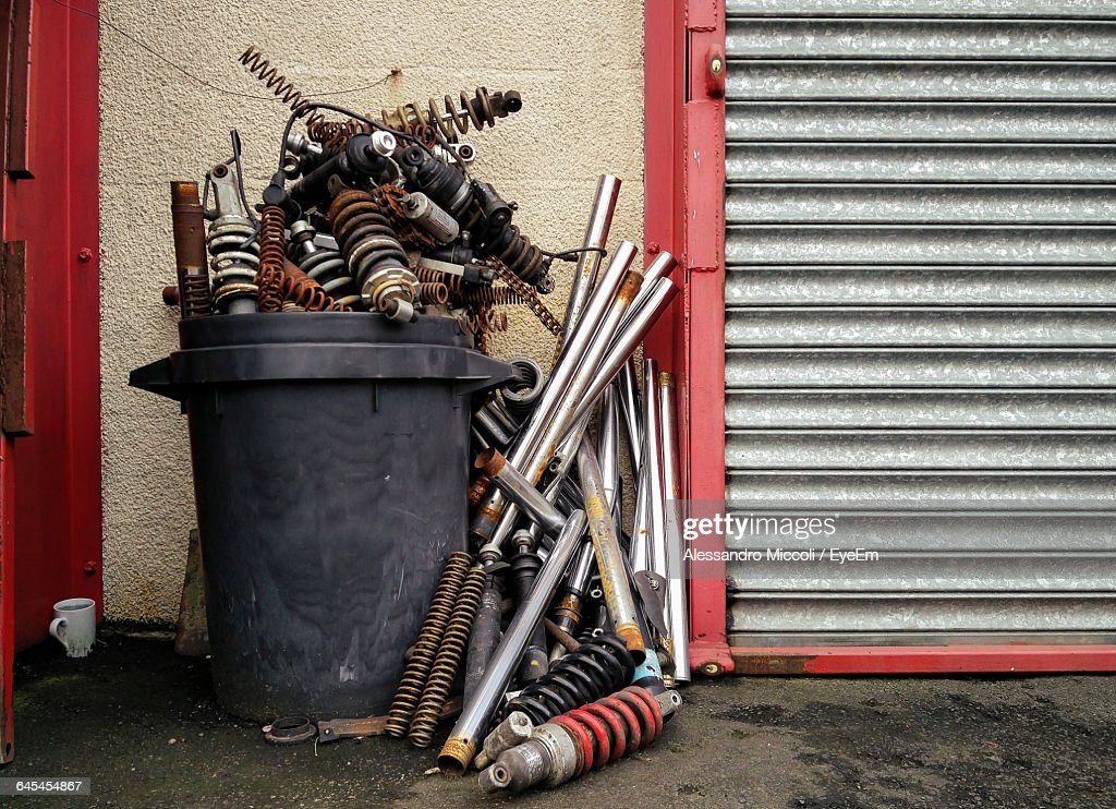 Metallic Equipment In Container By Shutter : Stock Photo