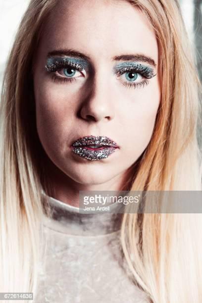 Metallic Eyeshadow And Glitter Makeup