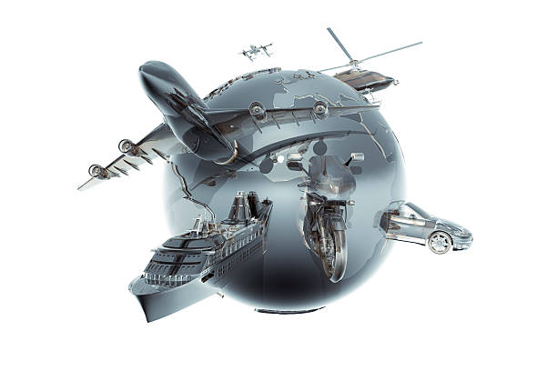 Metallic Globe With Different Forms Of Tranport Wall Art