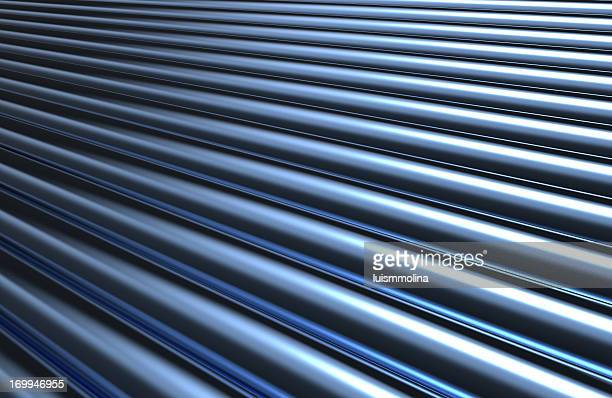 A metallic pipe striped background