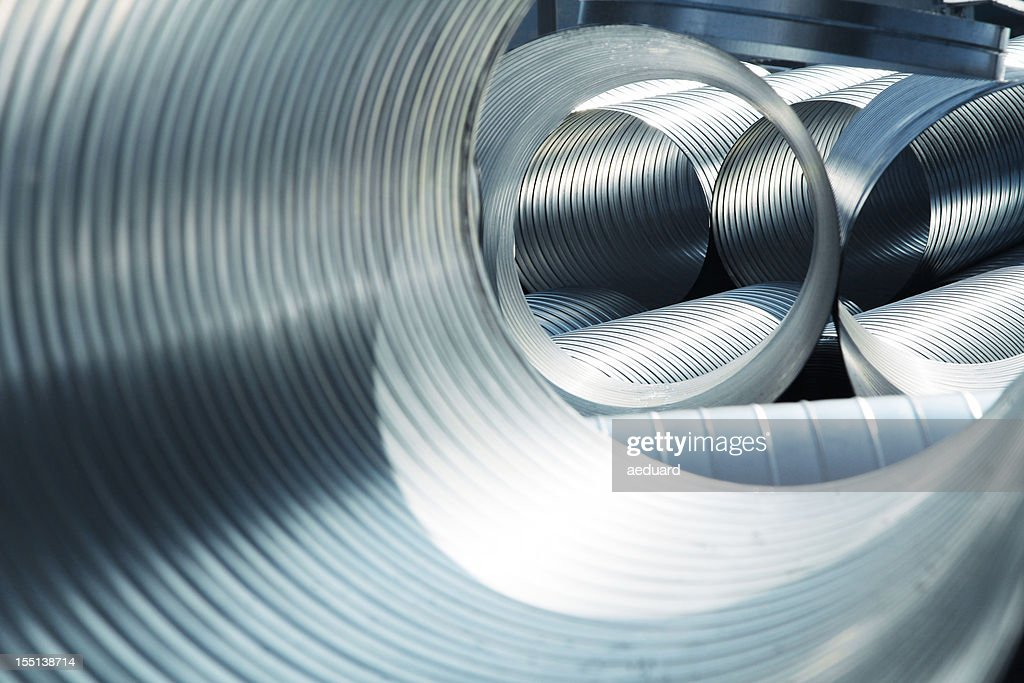 Metallic, ribbed ventilation tubes : Stock Photo