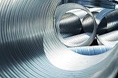 Metallic, ribbed ventilation tubes
